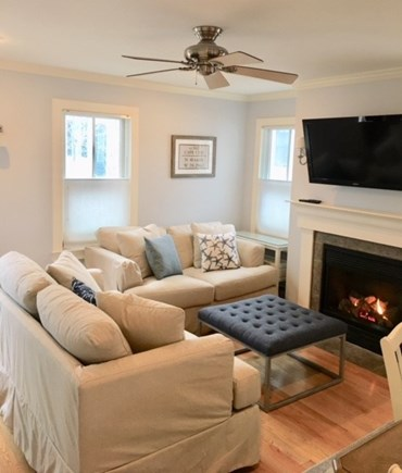 Provincetown Cape Cod vacation rental - Living room with fireplace