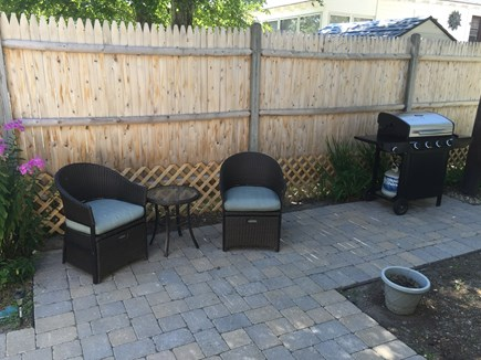 248 Old Wharf Road, dennis Cape Cod vacation rental - Patio seating and bbq grill