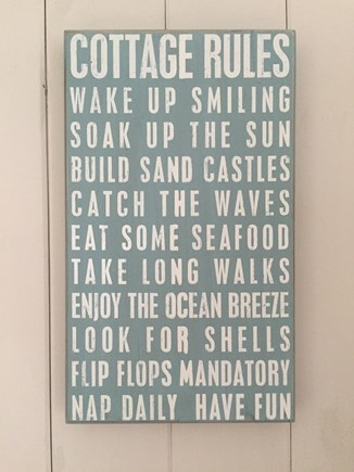 248 Old Wharf Road, dennis Cape Cod vacation rental - Cottage rules!