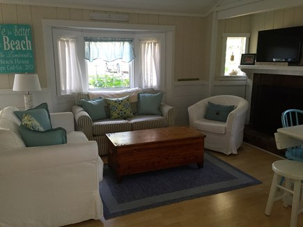 248 Old Wharf Road, dennis Cape Cod vacation rental - Cozy living area. white coach opens up to an oversized twin.