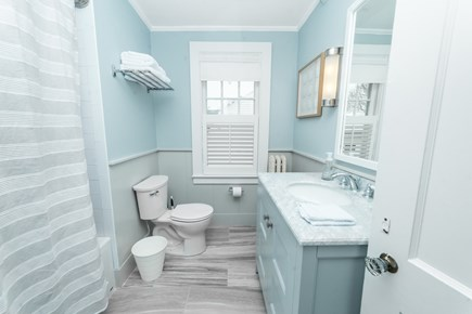 Downtown Plymouth MA vacation rental - Newly renovated bathroom with tub and shower.