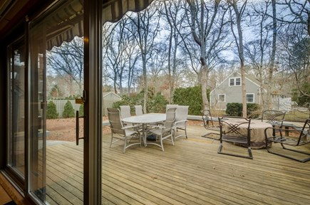 New Seabury, Mashpee New Seabury vacation rental - Large outdoor deck with fire-pit table, new Weber gas grill
