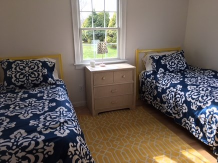 Falmouth Cape Cod vacation rental - Rear twin bedroom with new mattresses & new Pottery Barn linens