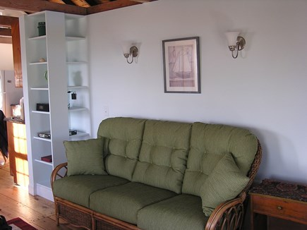 Wellfleet Cape Cod vacation rental - Living room couch and iHome on nearby shelf for stereo