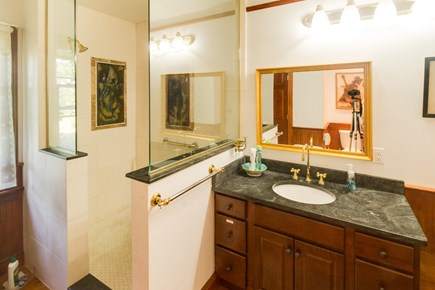 Brewster Cape Cod vacation rental - Walk-in shower with antique sink