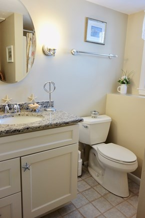 South Yarmouth Cape Cod vacation rental - Bathroom w/ Shower Stall has ceramic tile floor, granite vanity