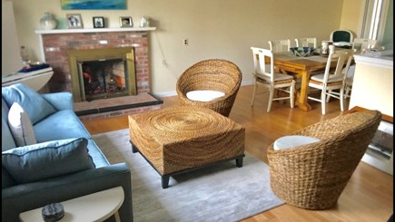 South Yarmouth Cape Cod vacation rental - Sun-filled Living Rm with gas fireplace & large picture window