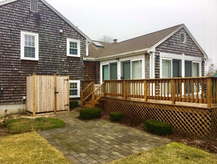 South Yarmouth Cape Cod vacation rental - Back of Home / outdoor shower, wrap around deck and patio
