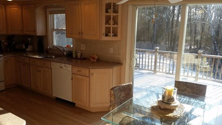 Falmouth Cape Cod vacation rental - Updated Kitchen with sliding door to large back deck and yard.