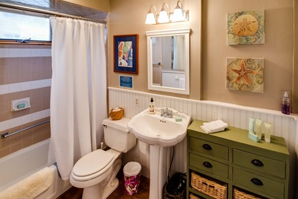 Falmouth Cape Cod vacation rental - Bathroom has a Cape Cod wainscoting and plenty of space