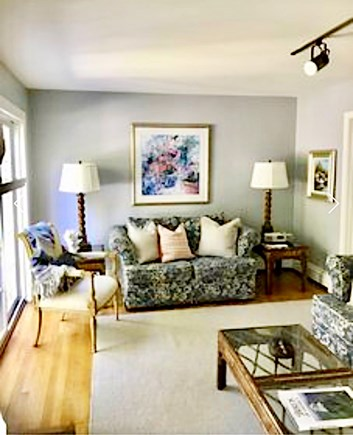 Osterville Osterville vacation rental - Family Room- 2 couches, 1 chair, & a decorative fireplace.