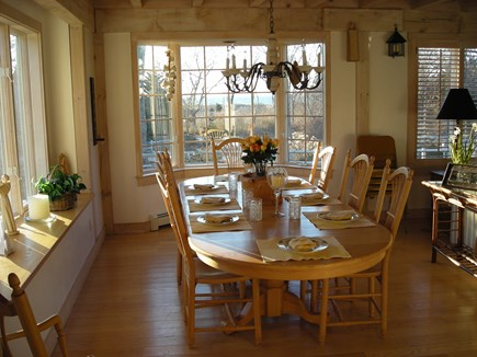 West Falmouth Cape Cod vacation rental - Dining area looking toward beach