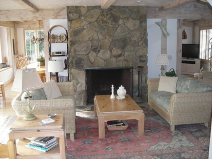 West Falmouth Cape Cod vacation rental - Fireplace room off kitchen