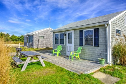 East Sandwich Cape Cod vacation rental - Front deck, picnic table and grill.