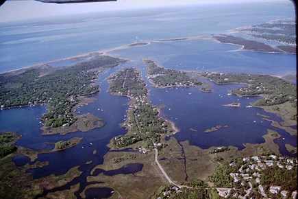 Mashpee Cape Cod vacation rental - Arial view towards Waquoit Bay and Nantucket. Home in lower left.