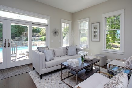 West Barnstable Cape Cod vacation rental - First floor living area looking out to the pool.