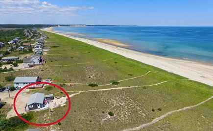 Sandwich, Sagamore Beach Cape Cod vacation rental - Aerial view of cottage in the dunes and beach.