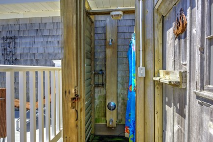 Sandwich, Sagamore Beach Cape Cod vacation rental - Enclosed outdoor shower on the deck