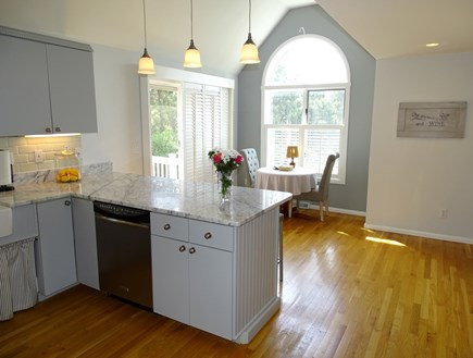Mashpee Cape Cod vacation rental - Kitchen nook, opens to deck