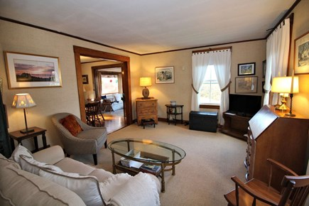 North Truro Cape Cod vacation rental - Comfortable living room with satellite television.