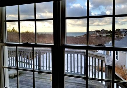 North Truro Cape Cod vacation rental - Views of Cape Cod Bay from studio over garage and studio's deck.