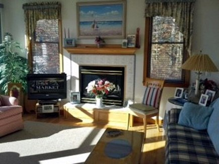 Yarmouth Cape Cod vacation rental - Living room with gas fireplace
