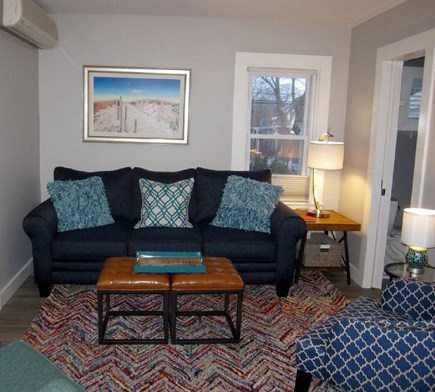 Provincetown Cape Cod vacation rental - Living room view from condo entrance. Bath on right.