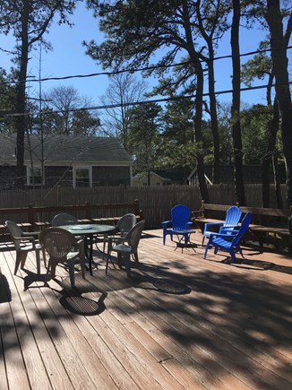 Brewster Cape Cod vacation rental - Deck with table/umbrella, Adirondack chairs, grill and hammock