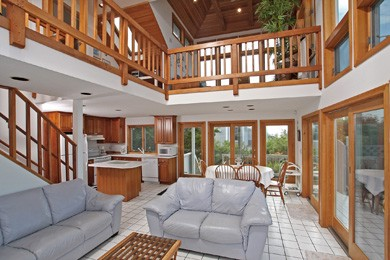 Eastham Cape Cod vacation rental - Living area looking toward Cherry Wood Kitchen