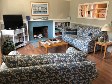 West Dennis Cape Cod vacation rental - Sunny Living Room for games, puzzles, reading with Roku TV/DVD