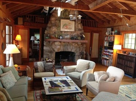 Falmouth, Woods Hole Cape Cod vacation rental - The huge living room and fieldstone fireplace