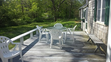 West Barnstable Cape Cod vacation rental - Deck off kitchen and living room overlooking large yard