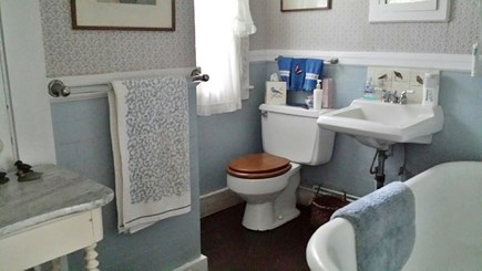 West Barnstable Cape Cod vacation rental - The downstairs bathroom, with claw foot tub.