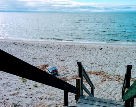 Brewster Cape Cod vacation rental - Beach stairs to private beach just outside your cottage.