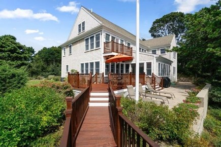 Popponesset, Mashpee Cape Cod vacation rental - Back with stairs to water