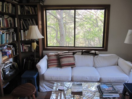 Wellfleet Cape Cod vacation rental - The cozy den looks out into the trees.
