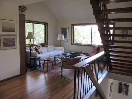 Wellfleet Cape Cod vacation rental - The den and stairs to the top-floor master bedroom.
