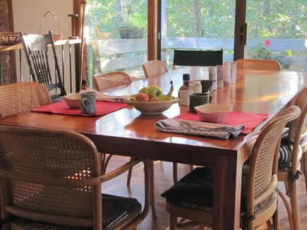 Wellfleet Cape Cod vacation rental - The dining room is sunny at breakfast.