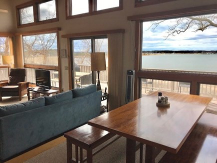 Wellfleet Cape Cod vacation rental - Open floor plan with Dining area and Lliving room -Harbor views.