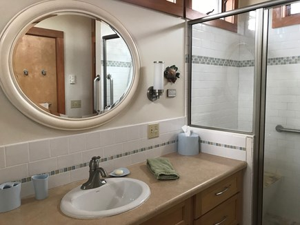 Wellfleet Cape Cod vacation rental - Bathroom #1 - Full bath, walk in tiled shower with handrails.