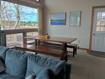 Wellfleet Cape Cod vacation rental - Dining area with large trestle table with views of Harbor.