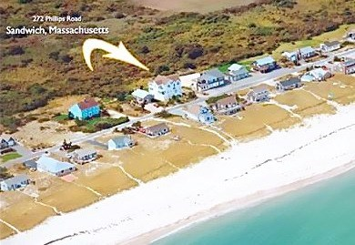 Sagamore Beach, Sandwich Sagamore Beach vacation rental - Aerial of house and beach across the street.