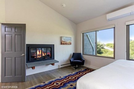 Truro Cape Cod vacation rental - Fireplace in upstair master as well as living area
