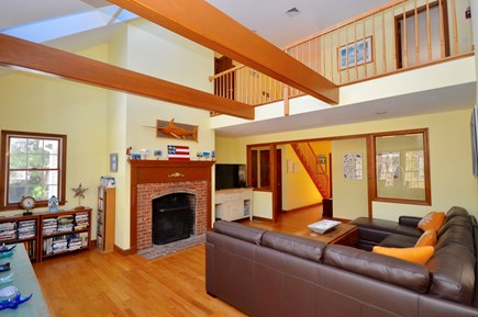 Orleans Cape Cod vacation rental - Vaulted ceiling living room with plenty of seating and TV
