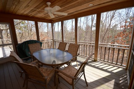 Wellfleet Cape Cod vacation rental - Screened porch with overhead fan and outdoor dining