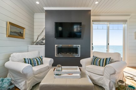 Eastham Cape Cod vacation rental - Gas fireplace with sitting area