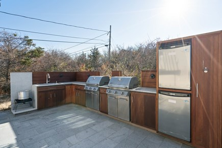 Eastham Cape Cod vacation rental - Outdoor custom build mahogany kitchen and two Weber grills