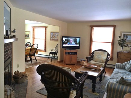 Orleans Cape Cod vacation rental - The living room and dining room are open and airy.