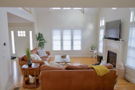 Popponesset, Mashpee Cape Cod vacation rental - Living Room with cathedral ceiling and gas fireplace