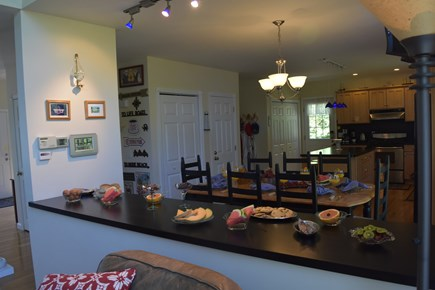 Chatham Cape Cod vacation rental - Kitchen viewed from family room; open floor plan.